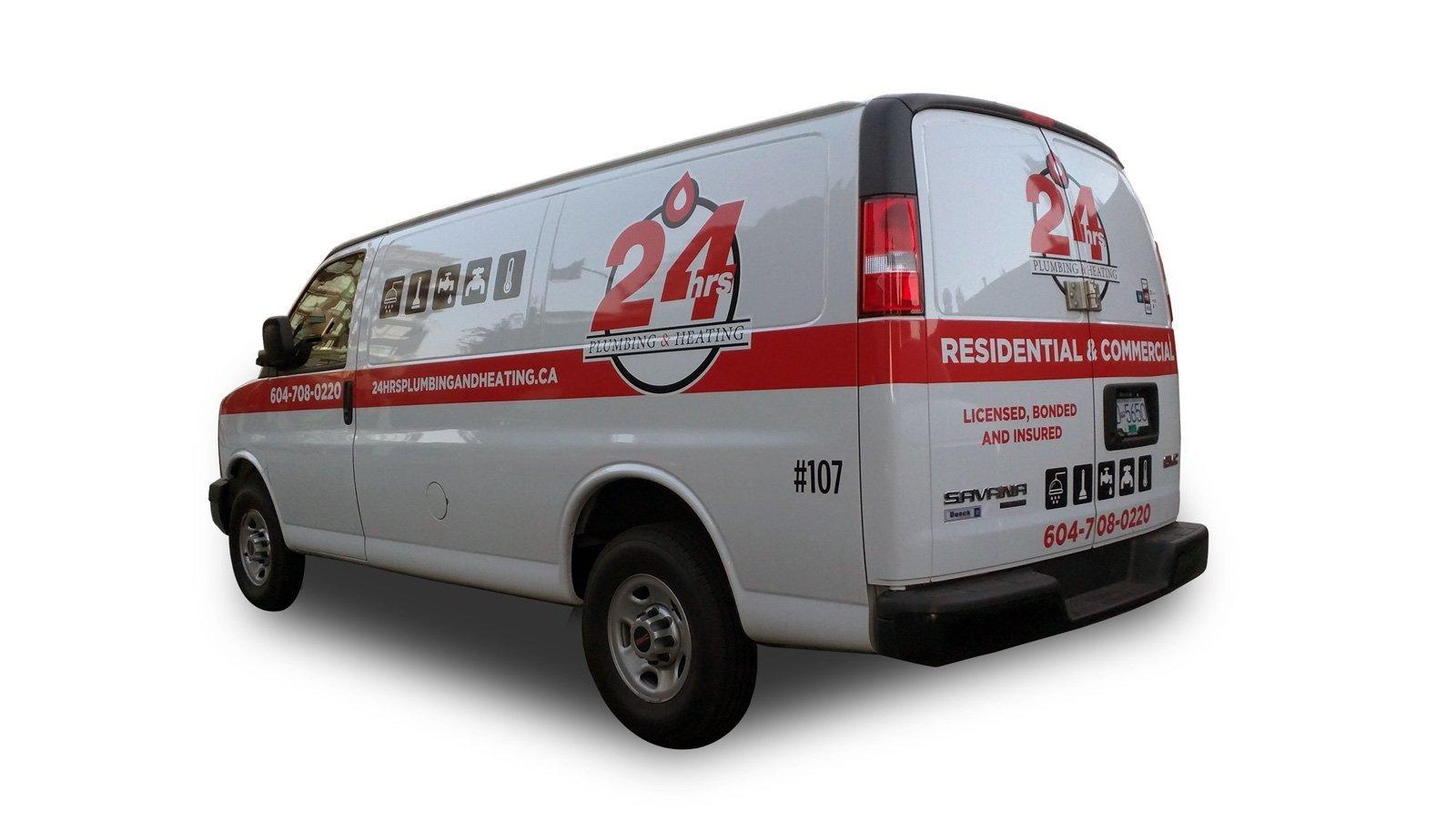 24hrs plumbing & heating van graphics
