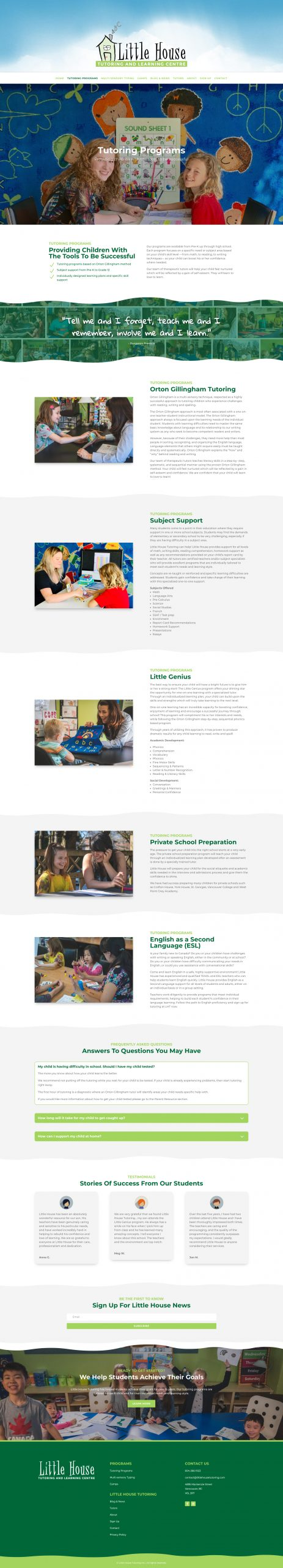 little house tutoring web design